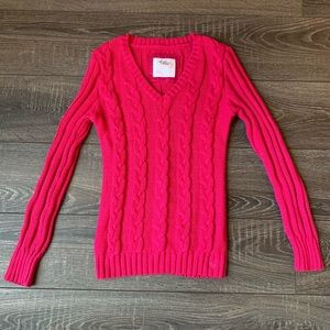 5/$25 Justice Hot Pink Cable Knit Sweater | 14